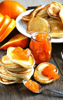 Pancakes with pumpkin jam