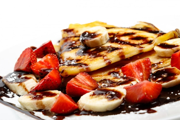 Pancakes with strawberry and banana