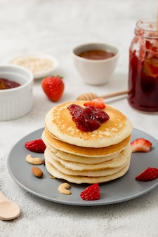 Pancakes with sweet homemade natural jam