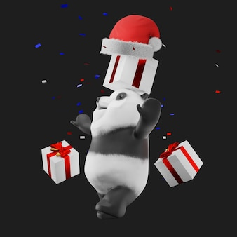 Panda in santa claus hat mascot 3d render
