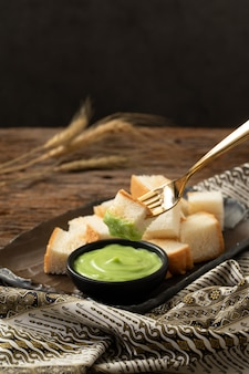 Pandan custard bread thai dessert  sweet