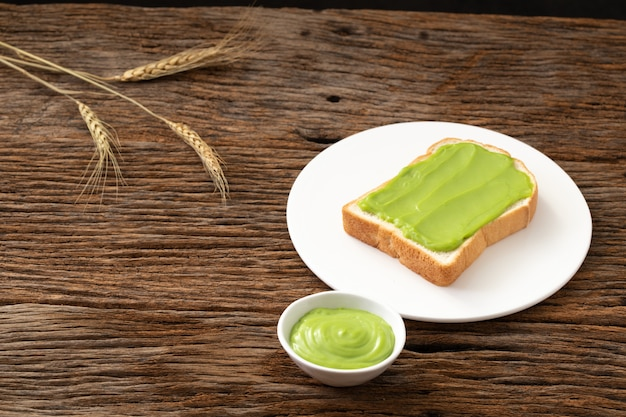 Pandan custard bread thai dessert  sweet