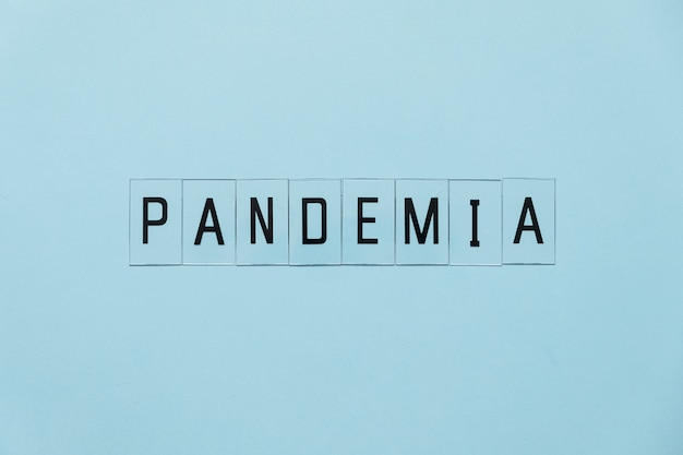 Pandemia coronavirus. prevent or stop the spread of the covid-19 worldwide. letters pandemia
