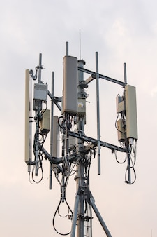 Panel antenna installed on steel posts on high