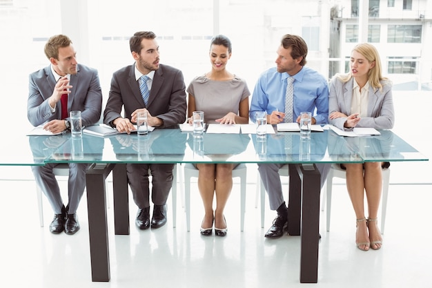 Panel of corporate personnel officers in office Premium Photo