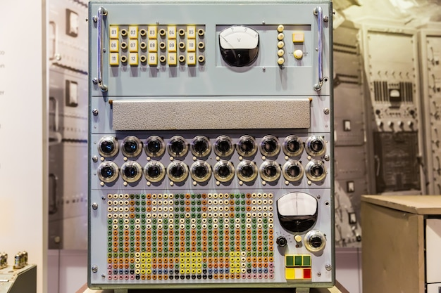Panel of old calculating machine