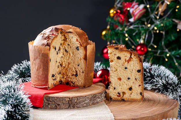 Panettone cake served at christmas
