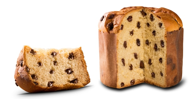 Panettone is the traditional italian dessert for christmas in white surface. chocotone.