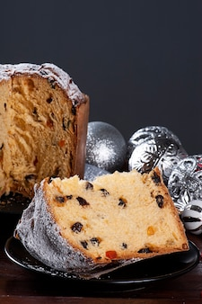 Panettone. typical fruit cake served at christmas. copy space
