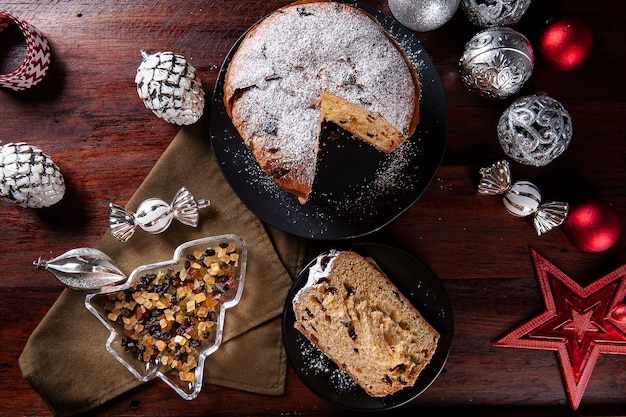 Panettone. typical fruit cake served at christmas. top view