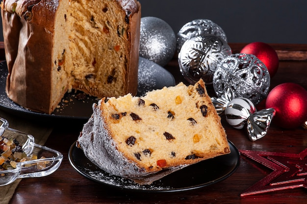 Panettone. typical fruit cake served at christmas.