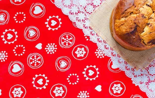 Panettone with chocolate and christmas decoration