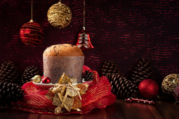 Panettone wrapped in red tulle