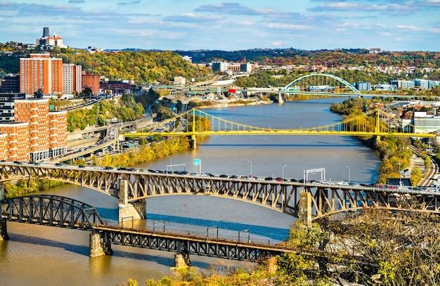미국 펜실베니아 피츠버그의 monongahela 강을 가로 지르는 panhandle, liberty, south tenth street 및 birmingham bridges