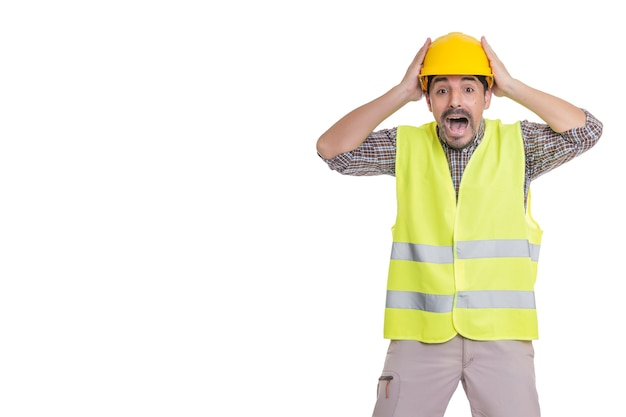 Panicking male engineer standing on white background