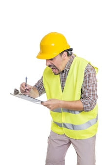 Panicking male engineer taking notes on clipboard