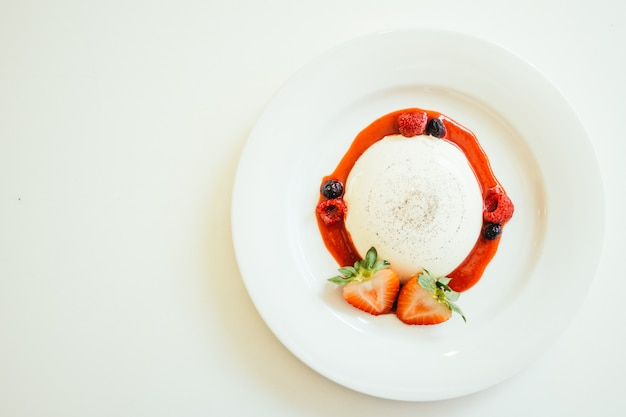 Panna cotta with strawberry and rasberry