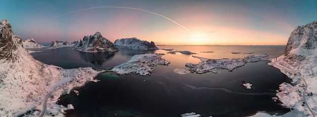 Panorama aerial view of scandinavian archipelago with mountain range on arctic ocean