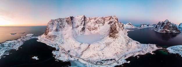 Panorama of archipelago and ice lake in valley on winter