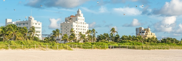 Panorama of art deco district of south beach miami. the buildings are surrounded by tropical palm trees.