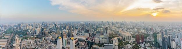 Panorama of bangkok, the capital of thailand at sunset.