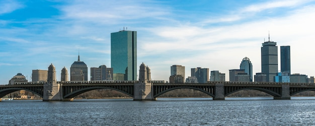 Panorama for banner of train running over the longfellow bridge the charles river
