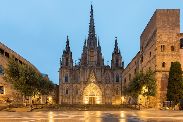 Panorama of barcelona cathedral during morning blue hour in barcelona, catalonia, spain.