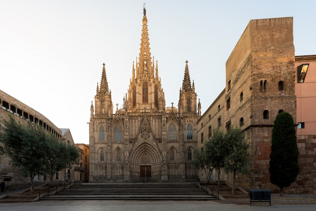 Panorama of barcelona cathedral of the holy cross and saint eulalia during sunrise, barri gothic quarter in barcelona, catalonia, spain.