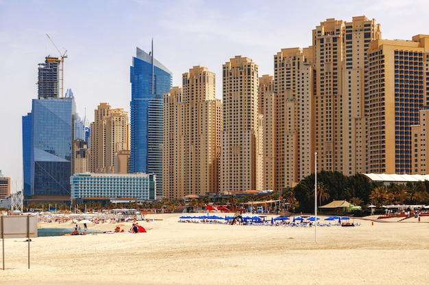 Panorama of the beach at jumeirah beach residence dubai