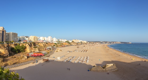 Panorama of the beach in portimao praia de rocha.