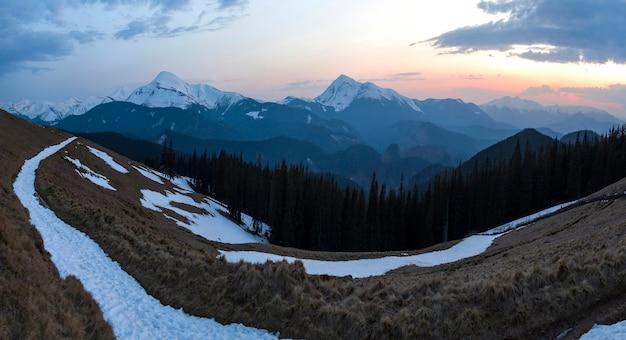 Panorama of beautiful spring morning in carpathian mountains.