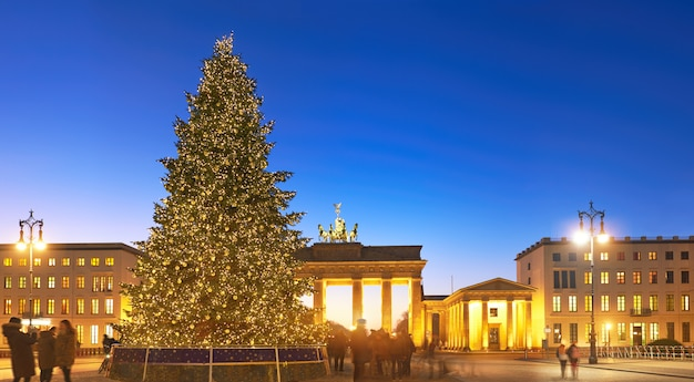 Panorama of brandenburg gate in berlin with christmas tree