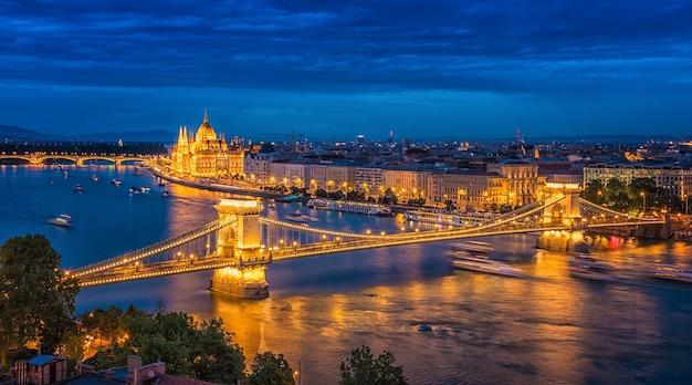 Panorama of budapest at night. hungarian landmarks