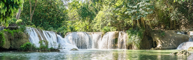 国立公園内のパノラマchet sao noiの滝