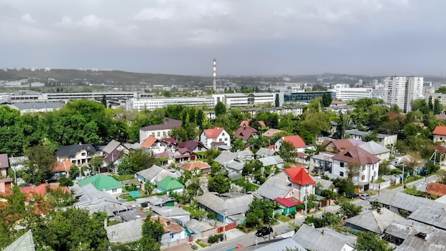 Panorama of chisinau from the drone in moldova