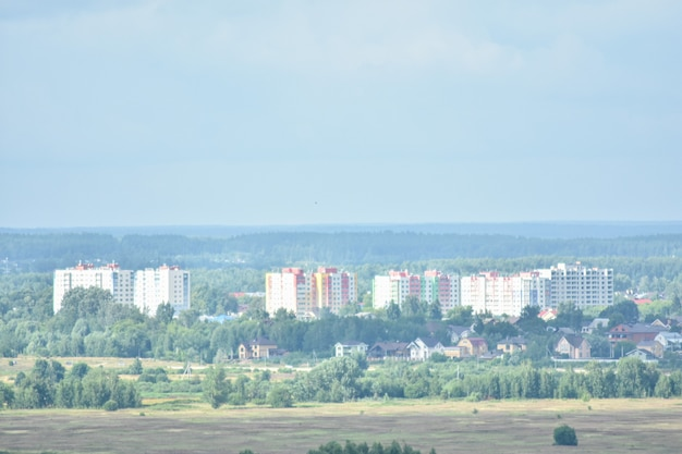 Panorama of the city on the banks of the volga river