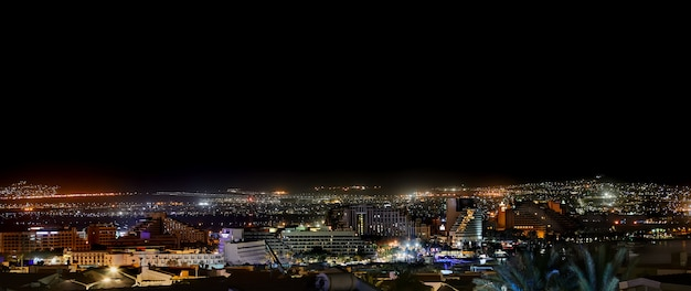 Panorama of the city of eilat at night