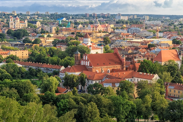 Panorama of the city. the historic center of vilnius