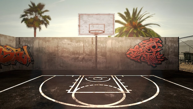 Panorama of city landscape with empty basketball court and many palms in park, sunset summer day. modern and grunge 3d illustration style for business and corporate template