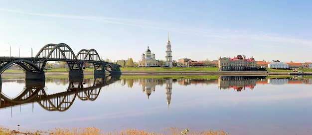 Panorama of the city of rybinsk, overlooking the cathedral, bridge and museum.