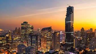 Panorama Cityscape view of Bangkok modern office business building, Thailand.