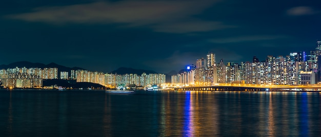 Panorama cityscape view of shenzhen at night, the atmosphere of the night lights in the city of international trade and export of china