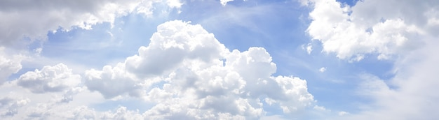 Panorama of clear blue sky with white cloud background.