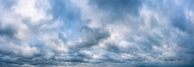 Panorama of a cloudy sky before the rain