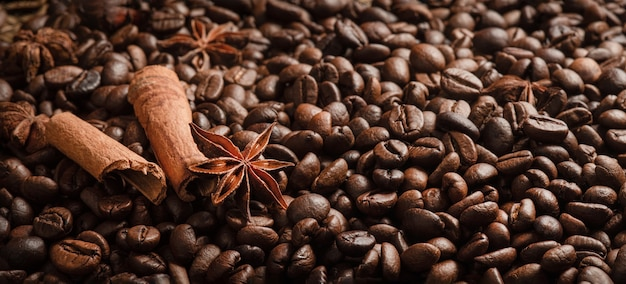 Panorama of coffee beans and spices background