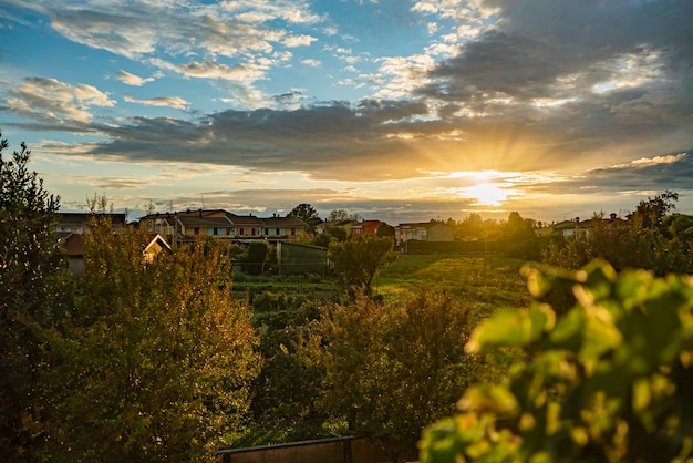 Panorama of countryside village sunset landscape in autumn