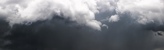 Panorama of the dark stormy sky with gray clouds