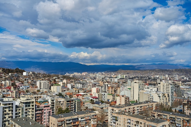 Panorama of a densely populated city. tbilisi city landscape from above.