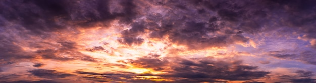 Panorama dramatic cloudy twilight sky nature backgroud