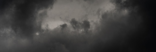 Panorama dramatic storm clouds in dusk sky, rainy and overcast weather. natural meteorology background